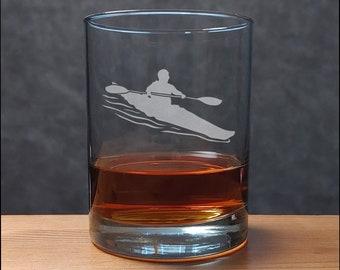 Kayak Whisky Glass - Free Personalization - Water Sports Personalized Gift - Kayaker Gift