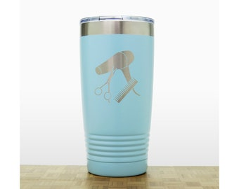 Hair Stylist Personalized 20 oz Insulated Stainless Steel Tumbler - Laser Engraved Travel Mug - Hairdresser Graduate Gift