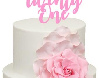 Twenty One Age Number Birthday Acrylic Cake Topper