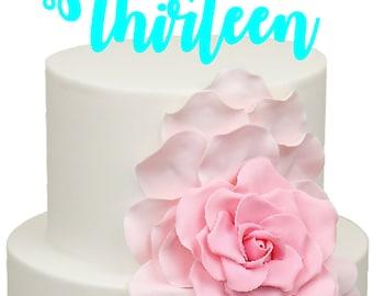 Thirteen Age Number Birthday Acrylic Cake Topper