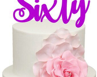 Sixty Age Number Birthday Acrylic Cake Topper