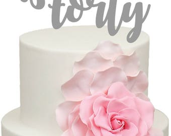 Forty Age Number Birthday Acrylic Cake Topper