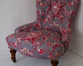 Antique Button Back Nursing Chair in 39 STOF 39 Toile Linen Fabric