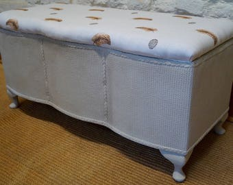 A Vintage Blanket / Toy Box upholstered in PEONY & SAGE