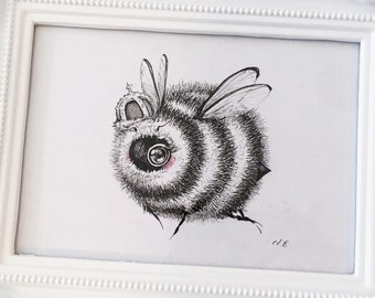 Let Them Eat Honey- Original Framed Drawing