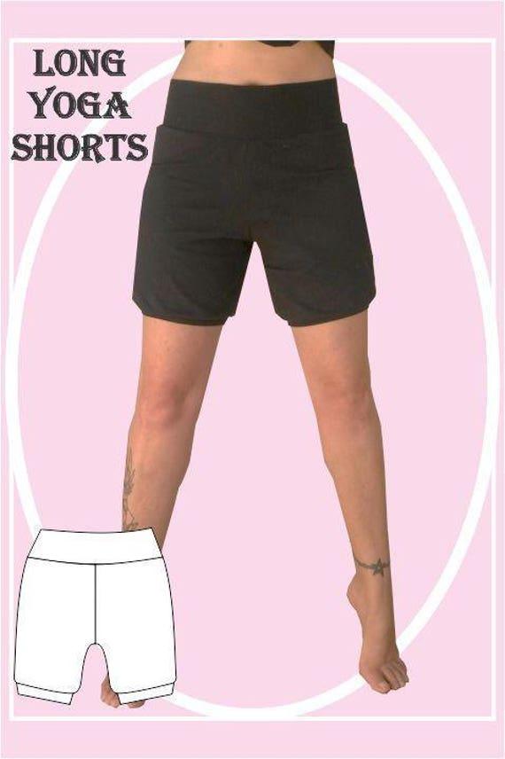 Long yoga shorts sewing pattern | Etsy