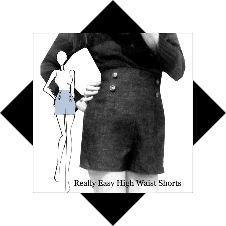 Sewing Pattern: Vintage Style High waist shorts image 0