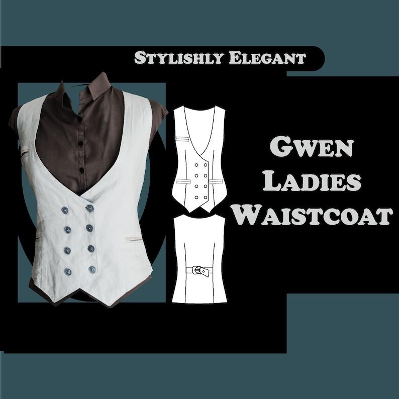 Steampunk Sewing Patterns- Dresses, Coats, Plus Sizes, Men's Patterns     Gwen Ladies Waistcoat Sewing Pattern $7.99 AT vintagedancer.com