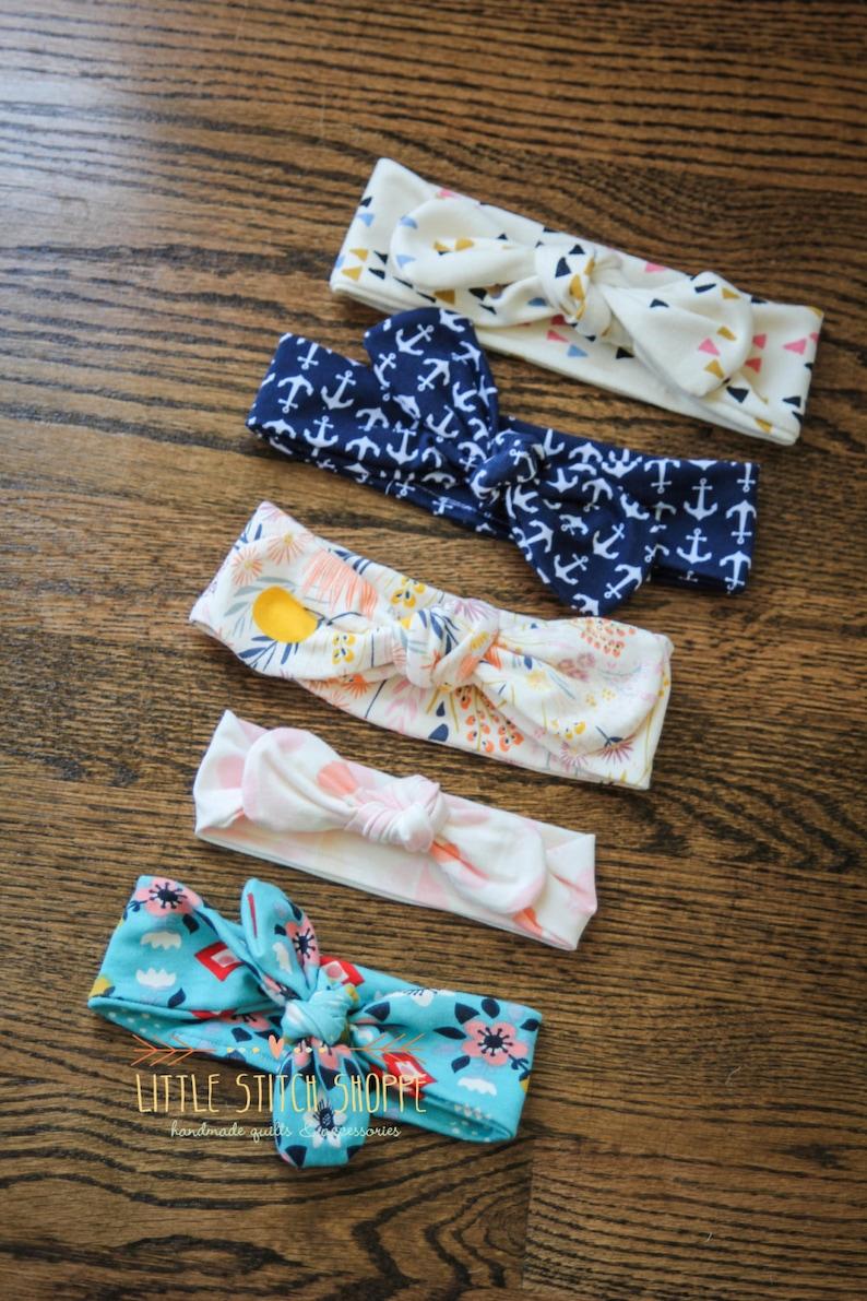 Baby Top Knot Anchors Nautical Top Knot Baby Headband Summer Headband