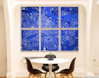 "Amsterdam map art, Map of Amsterdam, Netherlands, 6 colors, 9 sizes up to 90x72"" 225x180cm, in 1 piece or 6 parts - Limited Edition of 100"