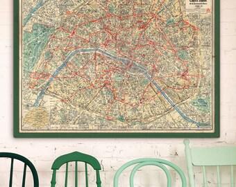 Paris Map Etsy - Large map of paris france