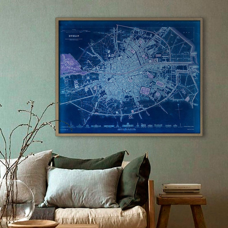 Map Of Dublin 3 Ireland.Map Of Dublin 1836 Old Dublin Map Blue Or Sepia 3 Sizes Up To 30x24 75x60 Cm Stylish Map Of Dublin Ireland Frame S Not Included