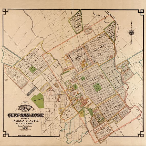 Map of San Jose, CA 1886, Old San Jose map in 3 sizes up to 36x36