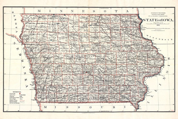 Iowa map 1885 Vintage map of Iowa state Poster in 4 sizes up to 54x36\