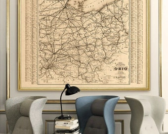 "Map of Ohio 1882, Vintage Ohio map, OH map poster in 4 sizes up to 48x36"" Ohio state print in beige or blue - Limited Edition of 100"