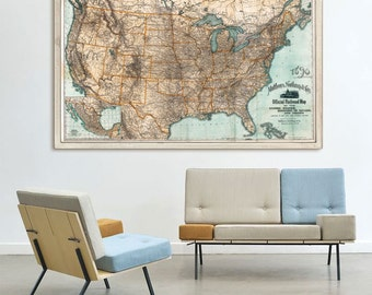 """US Railroad map 1890 Large vintage map of United States railroads in 3 sizes up to 60x36"""" (150x90 cm) - Limited Edition of 100"""