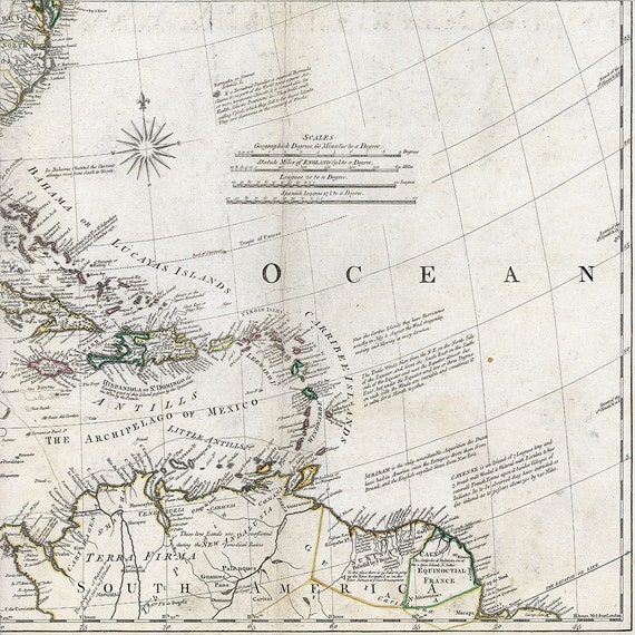 Map of North America 1761, Historical map of US, Canada 5 sizes up to  48x48\