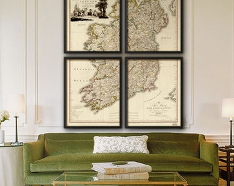 "Map of Ireland 1797 Old Ireland map, in 1 or 4 parts up to 48x60"" (120x150cm) Large vintage wall map of Ireland - Limited Edition of 100"