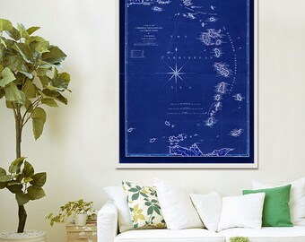 """Map of Windward Islands 1789 Vintage Caribbean map of Lesser Antilles in 4 sizes up to 36x48"""" (90x120 cm) - Limited Edition of 100"""
