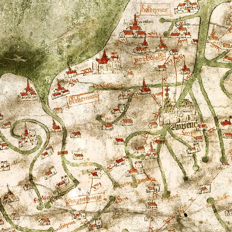 317bf9104d28b Carte médiévale de Grande-Bretagne 1360, carte de la Grande-Bretagne, 3  tailles à 60 x 30