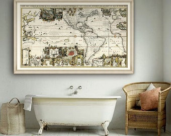 """Map of Americas 1719, Historical map of Americas with Pacific & Atlantic Ocean, 2 sizes up to 60x36"""" (150x90 cm) - Limited Edition of 100"""