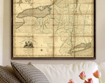 """New York State Map 1804 Vintage Upstate New York map, 4 sizes up to 45x36"""" 115x90cm Large wall map of NY State - Limited Edition of 100"""