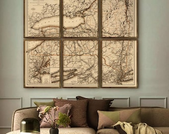 """Upstate New York map 1894, Vintage map of New York state in 5 sizes up to 72x64"""" as 1 print or in 6 parts - Limited Edition of 100"""