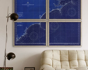 """Carolina Coast map 1934, XL map of Atlantic Coast from Charleston SC to Hatteras NC, 1 or 4 prints up to 80x60"""" - Limited Edition of 100"""