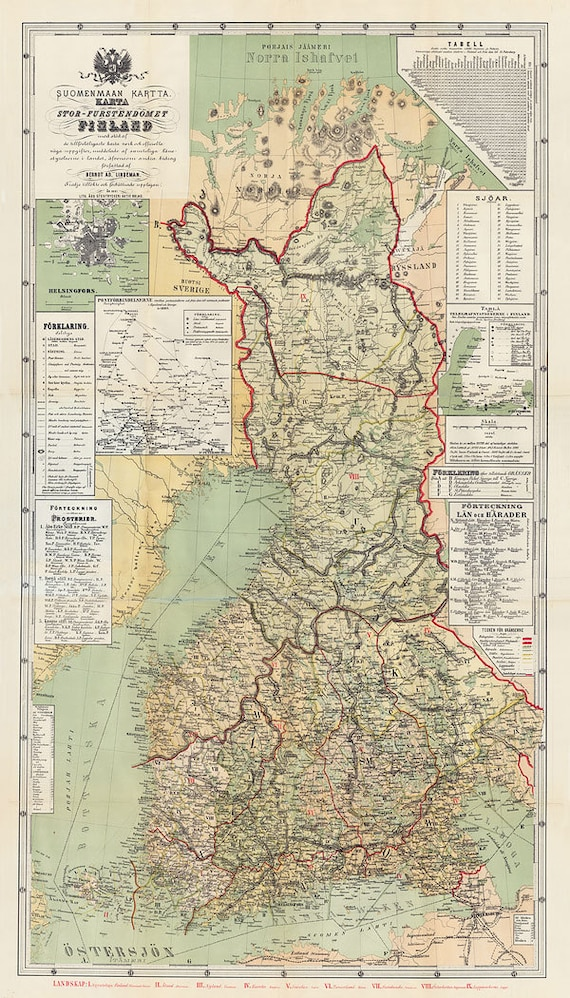 Map Of Finland 1881 Old Finland Map In 3 Sizes Up To Etsy