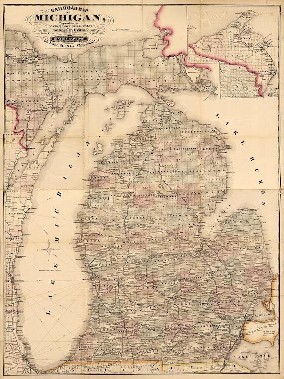 Map Of Michigan 1878 Large Vintage Michigan Map 5 Sizes Up Etsy