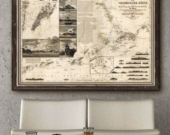 """Map of Hong Kong & Macao 1834, Vintage map of Pearl River Delta China, in 4 sizes up to 54x36"""" (140x90 cm) - Limited Edition of 100"""