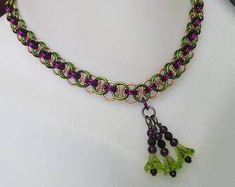 Amethyst Violet Green and Copper Fairy Jester Chainmaille  Choker with Embellishment