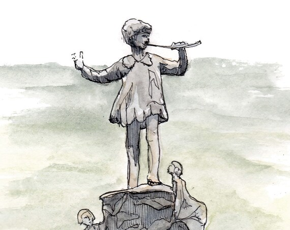 PETER PAN STATUE - Kensington Gardens, London, Bronze Sculpture, Neverland, Pen and Ink, Watercolor, Drawing, Painting, Art, Drawn There
