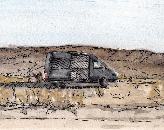 DESERT VAN - Joshua Tree, VanThere, BLM, Camper Van, Sprinter, Vanlife, Drawing, Pen and Ink, Watercolor, Painting, Art, Sketch, Drawn There