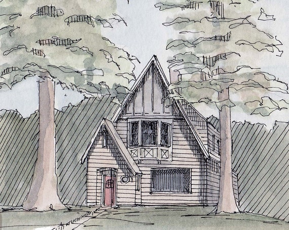 TALL TREES - Small House in Bend Oregon, Drawing, Architecture, Watercolor Painting, Sketchbook, Art Print, Urbansketcher, Drawn There