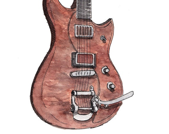 BIGSBY ELECTRIC GUITAR - Music, Instrument, Rock and Roll, Drawing, Ink, Watercolor Painting, Sketchbook, Art, Print, Drawn There