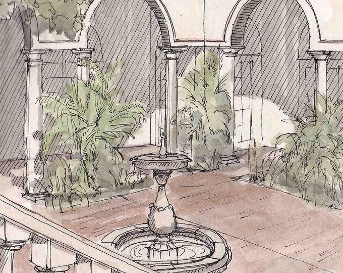 VILLA MONTALVO COURTYARD, San Jose, California - Italian Architecture, Drawing, Watercolor Painting, Sketchbook, Art, Drawn There