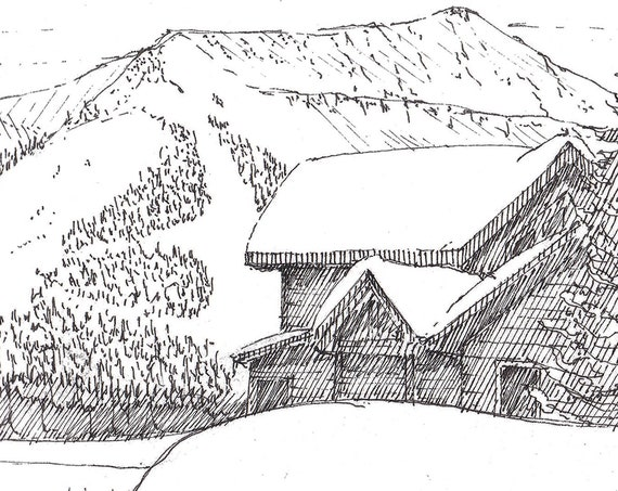 SKI CABIN - Big Sky, Montana, Skiing, Snowboarding, Snow, Winter, Resort, Mountain House, Pen and Ink, Line Drawing, Art Print, Drawn There