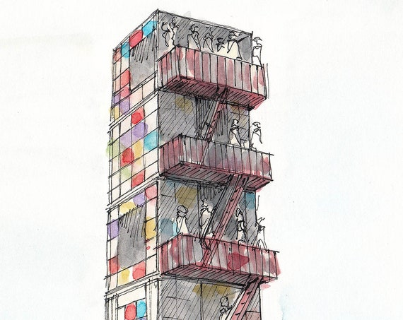 BLACK ROCK CITY - Kaleidoscope Stacked Cubes, Architecture, Drawing, Painting, Ink, Watercolor, Sketchbook, Art Print, Drawn There