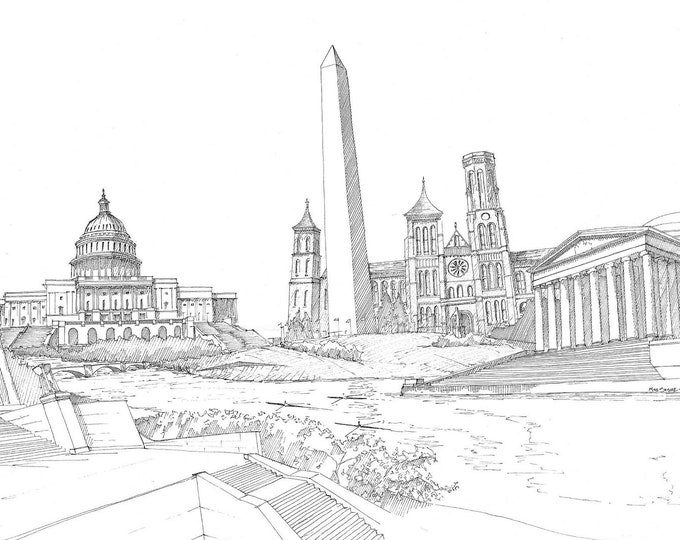 WASHINGTON DC MONUMENTS - Lincoln Memorial, Capitol, Washington Monument, Jefferson Memorial, Smithsonian, Pen and Ink, Drawn There