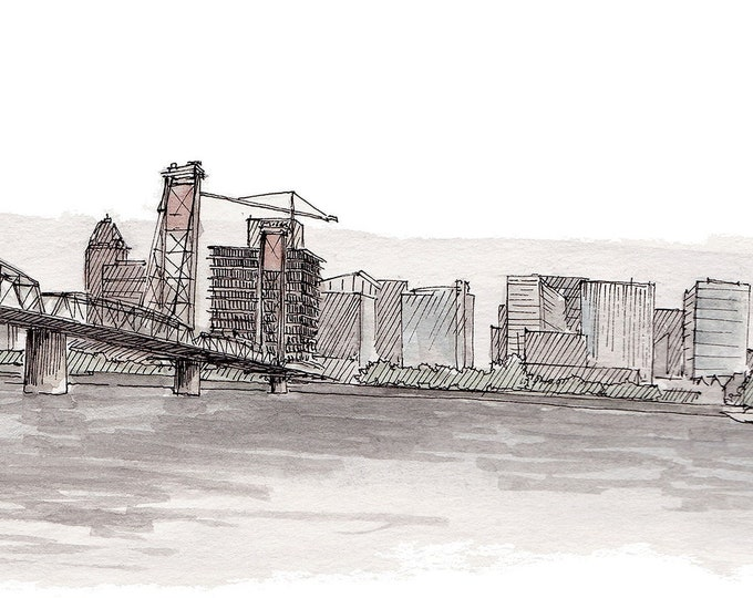 PORTLAND HAWTHORNE BRIDGE - Drawing, Pen and Ink, Watercolor Painting, Skyline, Architecture, River, Sketchbook, Art, Print, Drawn There