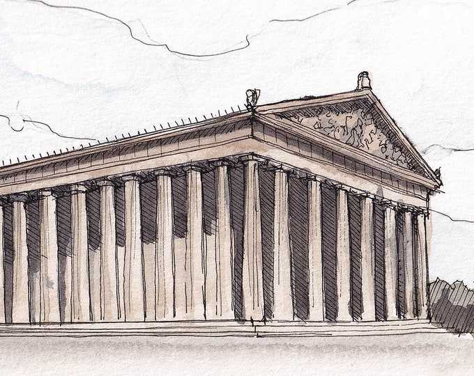 NASHVILLE PARTHENON - Classical Architecture, Centennial Park, Tennessee, Plein Air Watercolor Painting, Drawing, Art Print, Drawn There