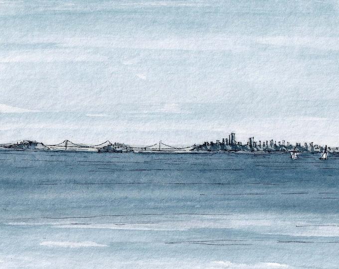 SAN FRANCISCO SKYLINE - Sausalito, California, Bay, Sailing, Watercolor Painting, Drawing, Plein Air Sketchbook, Urbansketcher, Drawn There