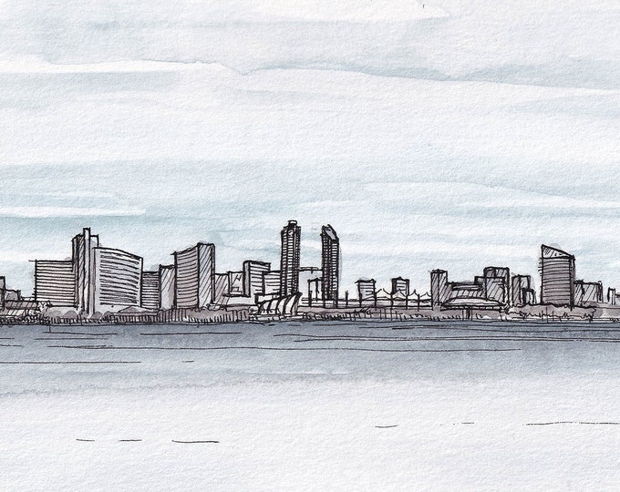 SAN DIEGO SKYLINE - California, Architecture, City, Reflection, Downtown, Architecture, Ink & Watercolor, Drawing, Sketch, Art, Drawn There