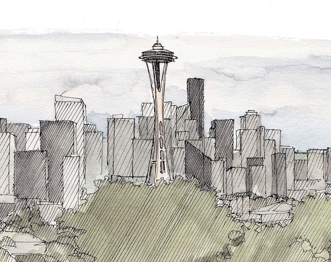 SEATTLE SKYLINE from Kerry Park - Space Needle, Washington, Drawing, Ink, Watercolor, Painting, Sketchbook, Art, Architecture, Drawn There