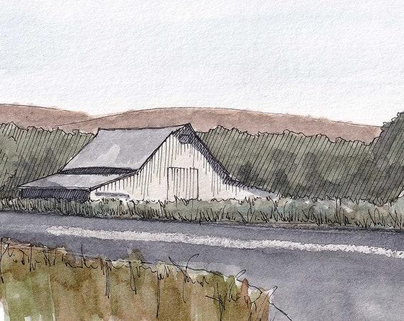 WHITE BARN near New Cuyama, California - Plein Air Watercolor Landscape Painting, Farm, Sketchbook, Art Print, Drawn There