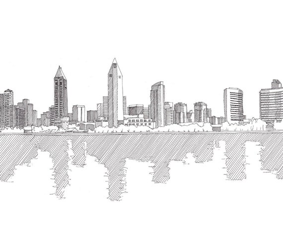 SAN DIEGO SKYLINE - California, Architecture, City, Reflection, Downtown, Architecture, Pen and Ink, Drawing, Sketch, Art, Drawn There