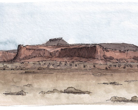 NEW MEXICO MOUNTAINS - Red Rock Mountains, Sandstone, Plein Air Landscape Watercolor Painting, Sketchbook, Drawing, Art Print, Drawn There