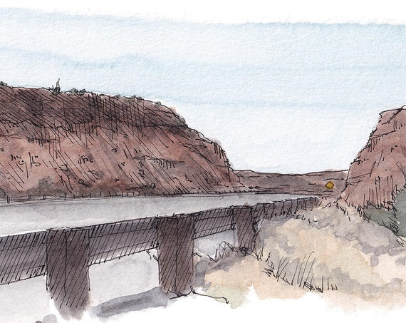ROUTE 40 NEW MEXICO - Red Rock Mountains, Travel, Southwest Road Trip, Watercolor Painting, Drawing, Sketchbook, Art Print, Drawn There