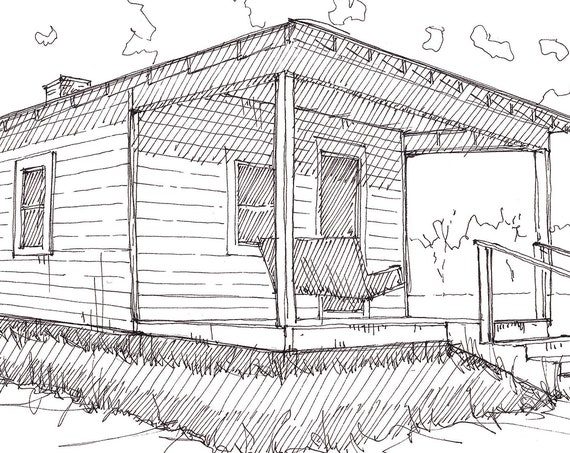 ELVIS PRESLEY BIRTHPLACE - King of Rock & Roll, Tupelo, Mississippi, Shotgun House, Architecture, Pen and Ink Sketch, Art Print, Drawn There